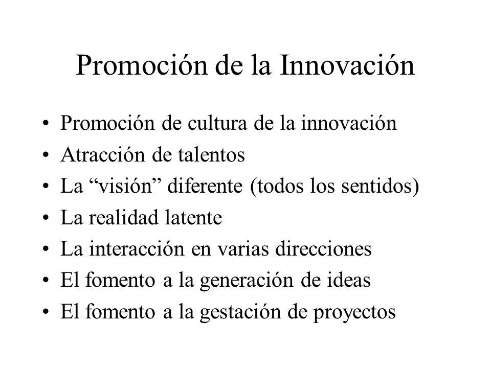 Promoción de la Innovación Promoción de cultura de la innovación Atracción de talentos La visión diferente (todos los sentidos) La realidad latente La