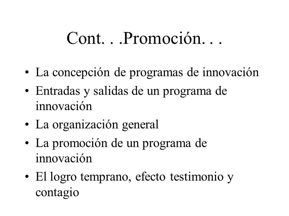 Cont...Promoción... La concepción de programas de innovación Entradas y salidas de un programa de innovación La organización general La promoción de u