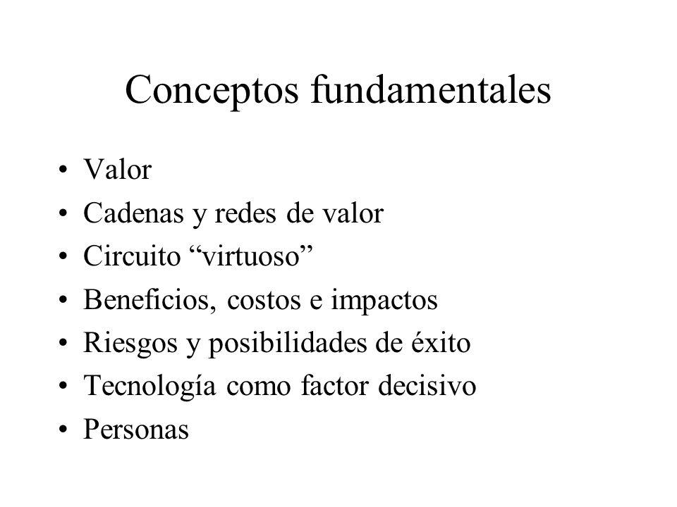 Conceptos fundamentales Valor Cadenas y redes de valor Circuito virtuoso Beneficios, costos e impactos Riesgos y posibilidades de éxito Tecnología com