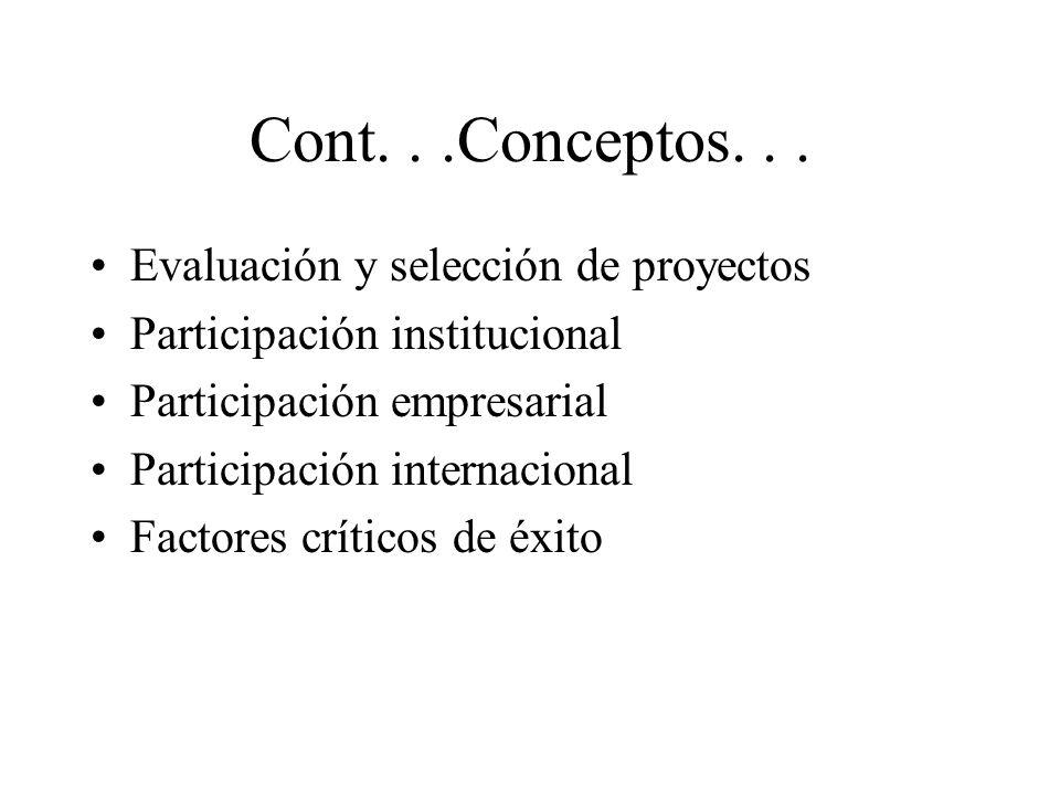 Cont...Conceptos... Evaluación y selección de proyectos Participación institucional Participación empresarial Participación internacional Factores crí