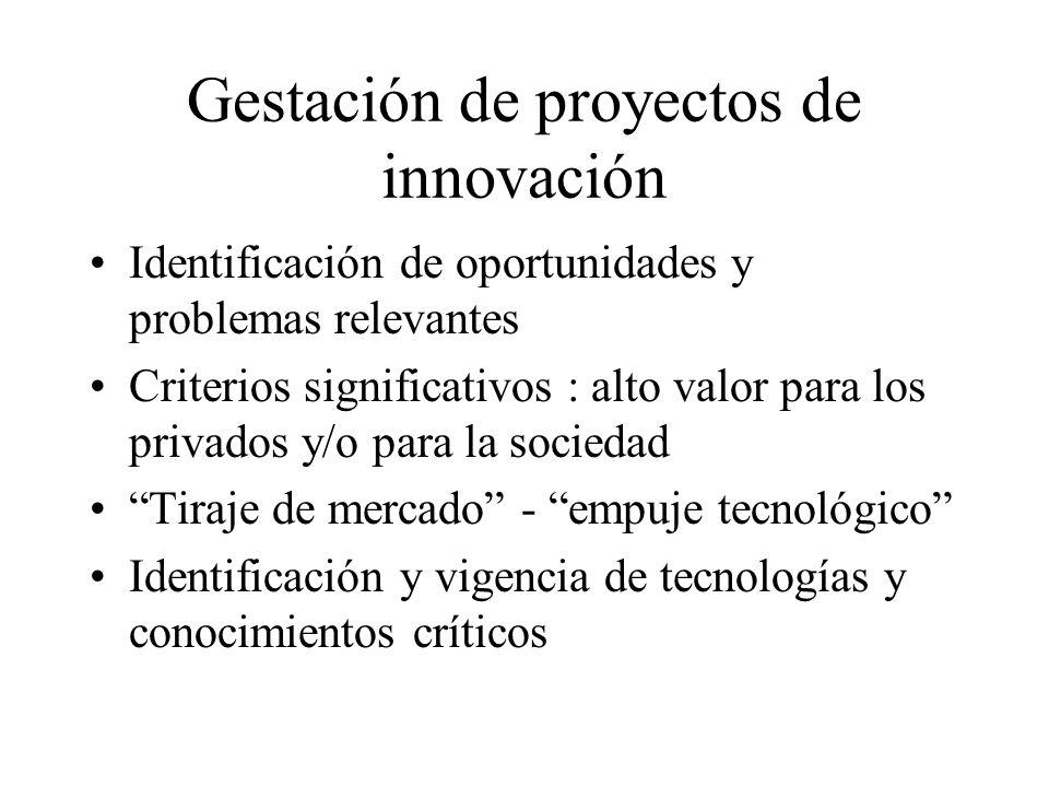 Gestación de proyectos de innovación Identificación de oportunidades y problemas relevantes Criterios significativos : alto valor para los privados y/