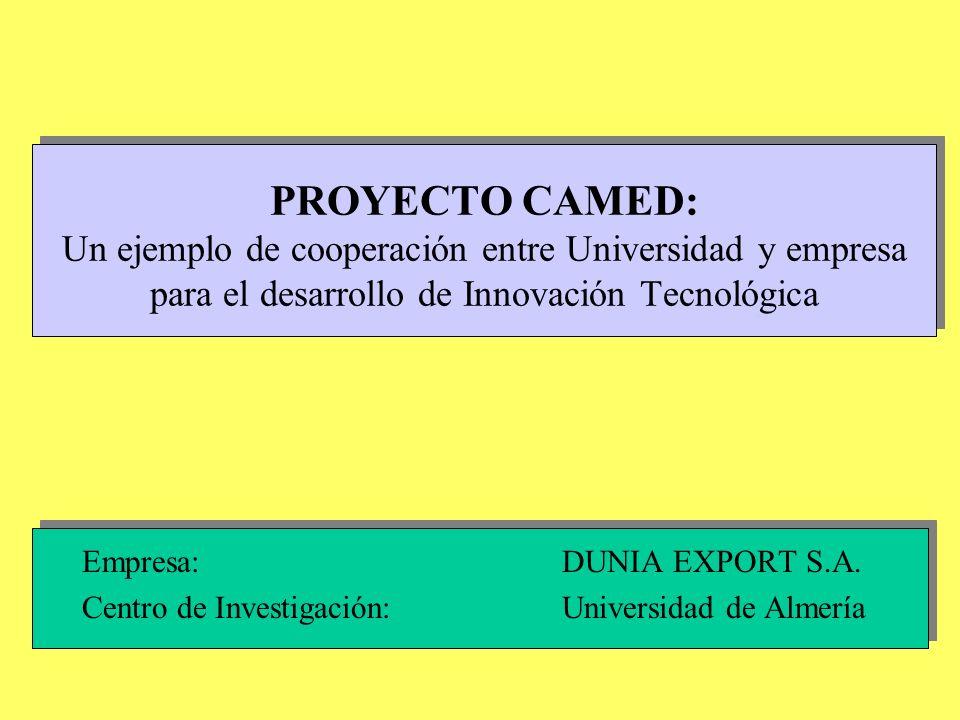 PROYECTO CAMED: Un ejemplo de cooperación entre Universidad y empresa para el desarrollo de Innovación Tecnológica Empresa: DUNIA EXPORT S.A. Centro d