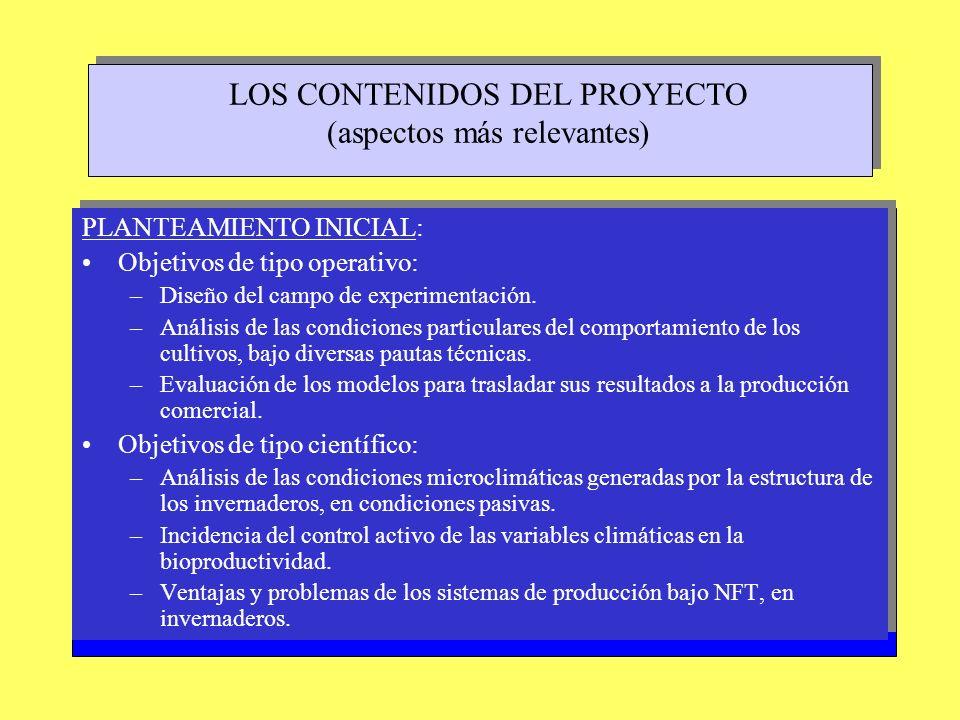 LOS CONTENIDOS DEL PROYECTO (aspectos más relevantes) PLANTEAMIENTO INICIAL: Objetivos de tipo operativo: –Diseño del campo de experimentación. –Análi