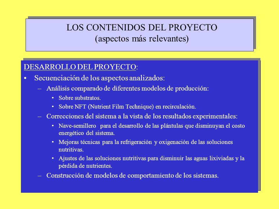 LOS RESULTADOS DEL PROYECTO (Componentes tecnológicas) La importancia de los componentes pasivos del sistema : Incidencia de la estructura del invernadero en función de su tipología (artesanal o industrial) y de su geometría.