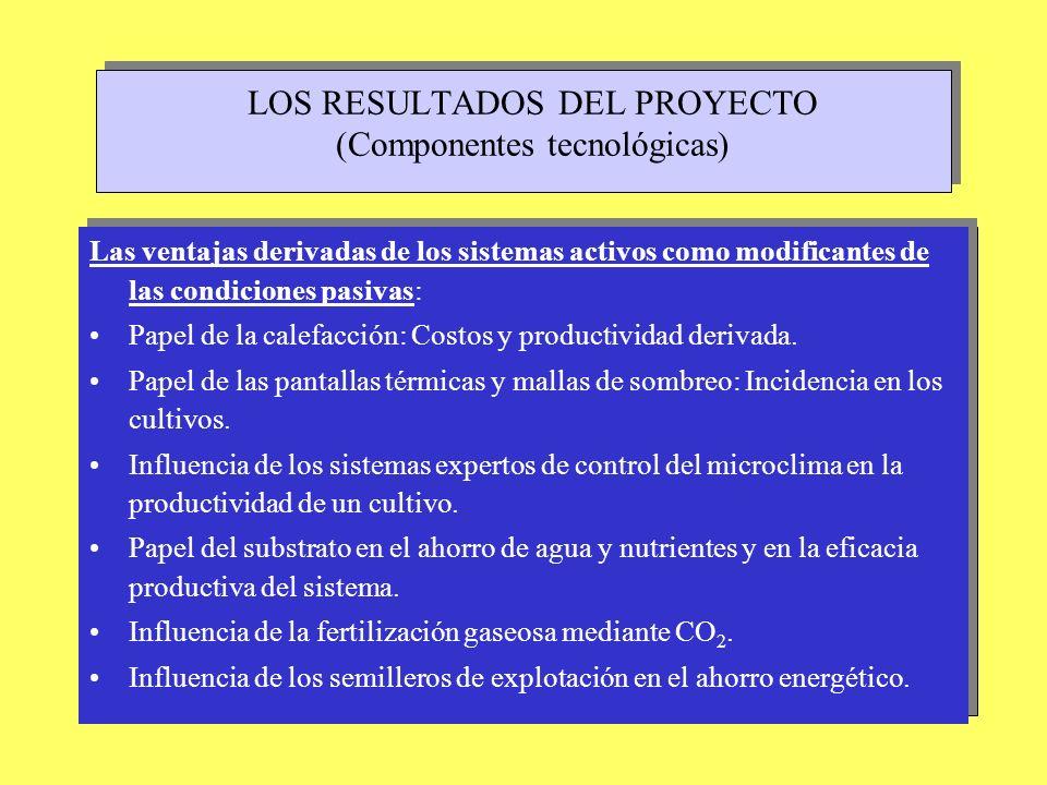 LOS RESULTADOS DEL PROYECTO (Componentes tecnológicas) Las ventajas derivadas de los sistemas activos como modificantes de las condiciones pasivas: Pa