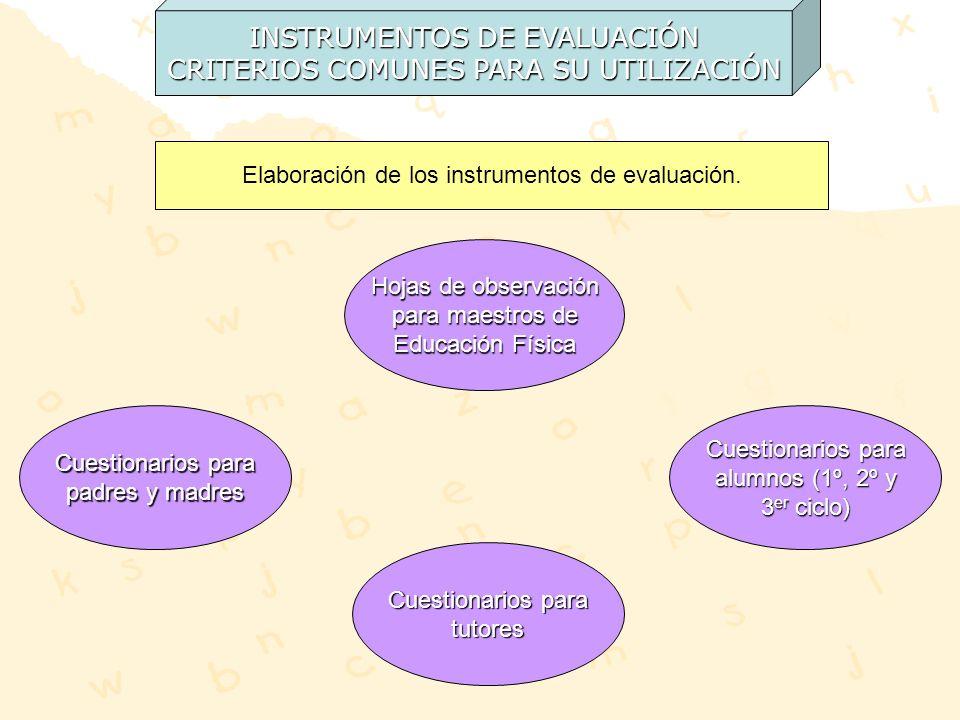 INSTRUMENTOS DE EVALUACIÓN CRITERIOS COMUNES PARA SU UTILIZACIÓN Elaboración de los instrumentos de evaluación. Cuestionarios para padres y madres Cue