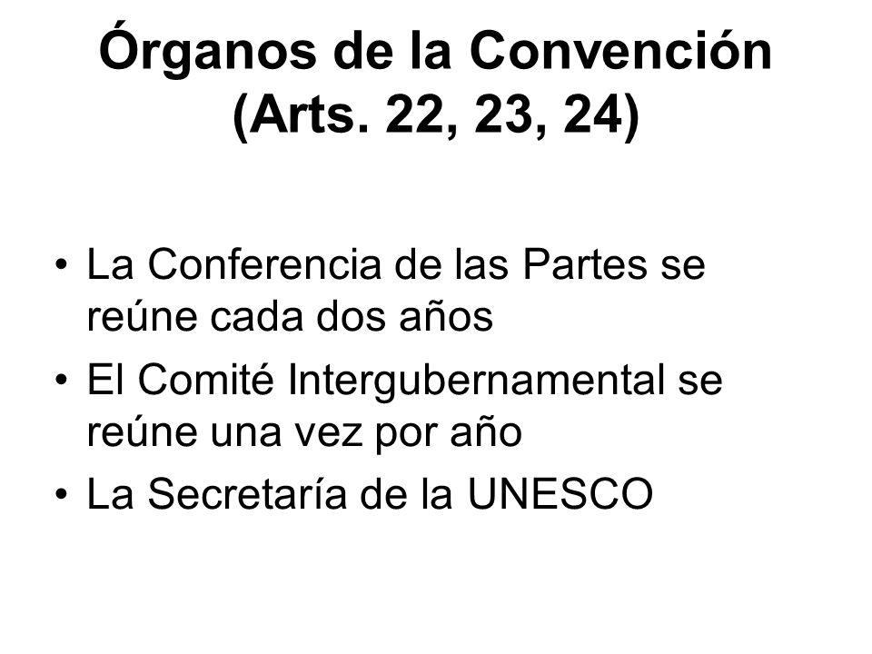 Órganos de la Convención (Arts. 22, 23, 24) La Conferencia de las Partes se reúne cada dos años El Comité Intergubernamental se reúne una vez por año