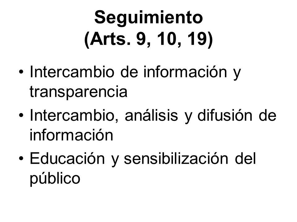 Seguimiento (Arts. 9, 10, 19) Intercambio de información y transparencia Intercambio, análisis y difusión de información Educación y sensibilización d