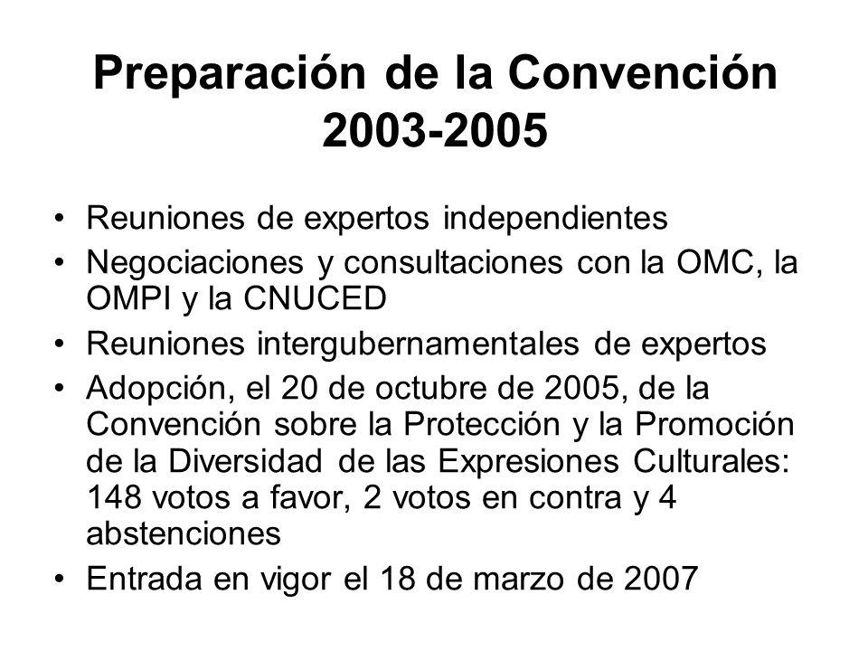 Preparación de la Convención 2003-2005 Reuniones de expertos independientes Negociaciones y consultaciones con la OMC, la OMPI y la CNUCED Reuniones i