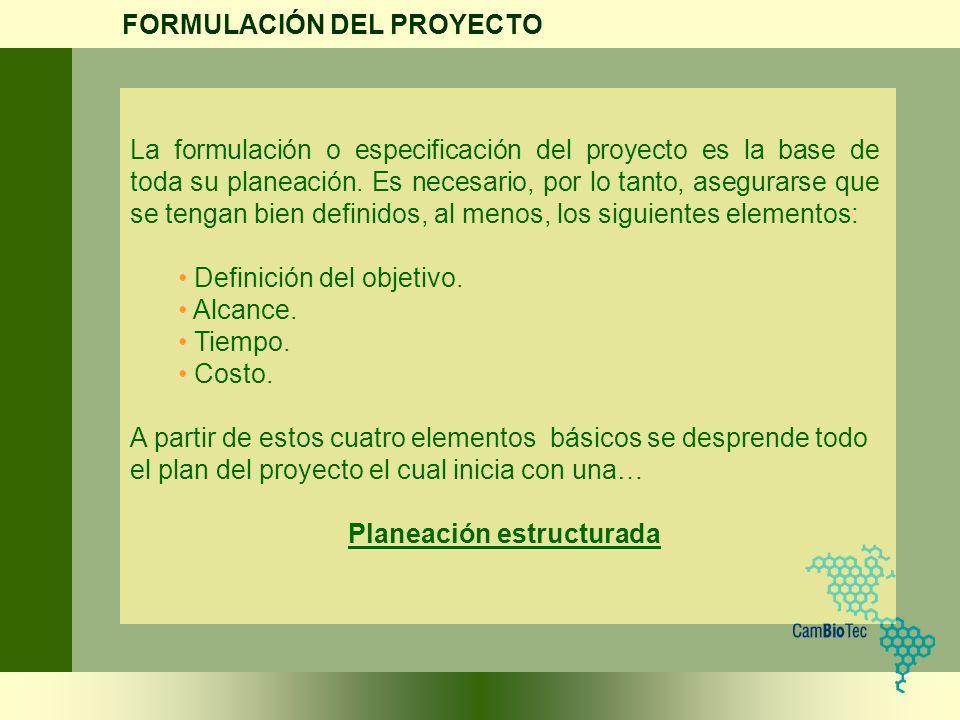 La formulación o especificación del proyecto es la base de toda su planeación. Es necesario, por lo tanto, asegurarse que se tengan bien definidos, al