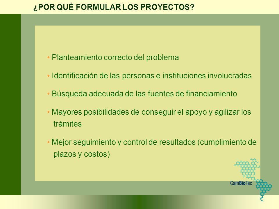 Planteamiento correcto del problema Identificación de las personas e instituciones involucradas Búsqueda adecuada de las fuentes de financiamiento May