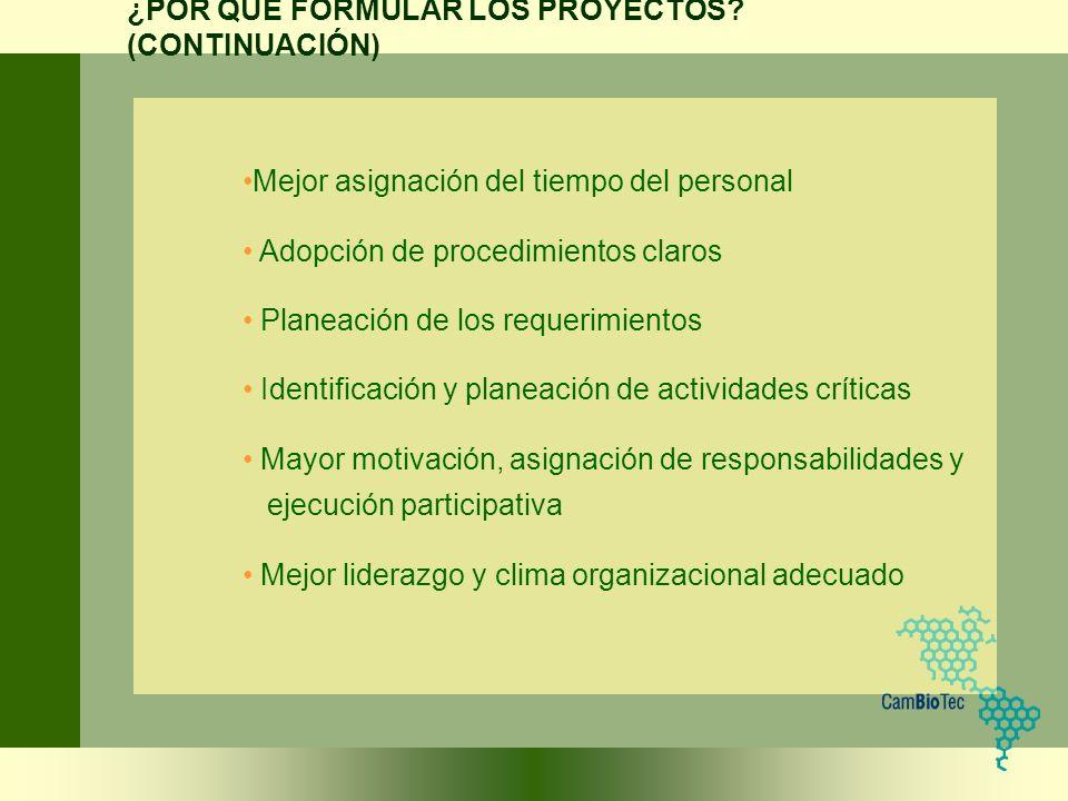 Mejor asignación del tiempo del personal Adopción de procedimientos claros Planeación de los requerimientos Identificación y planeación de actividades