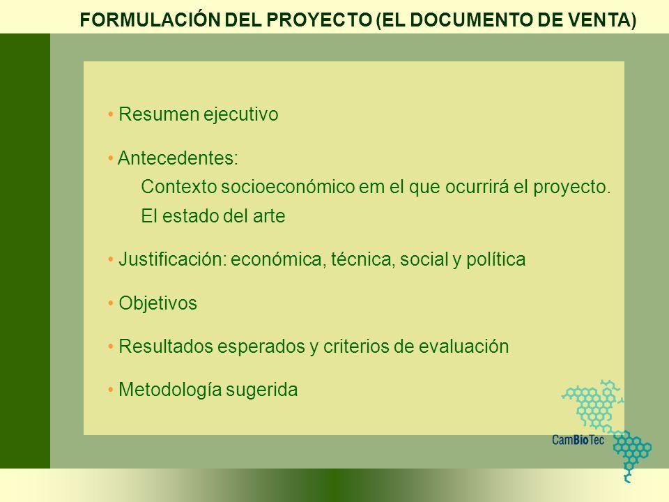 Resumen ejecutivo Antecedentes: Contexto socioeconómico em el que ocurrirá el proyecto. El estado del arte Justificación: económica, técnica, social y