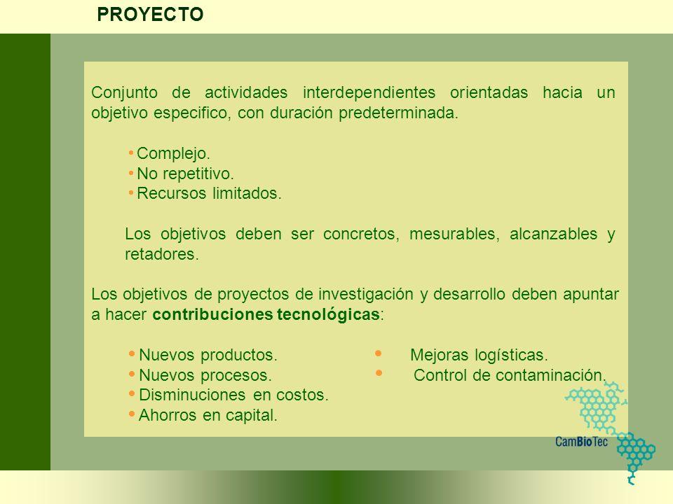 Conjunto de actividades interdependientes orientadas hacia un objetivo especifico, con duración predeterminada. Complejo. No repetitivo. Recursos limi