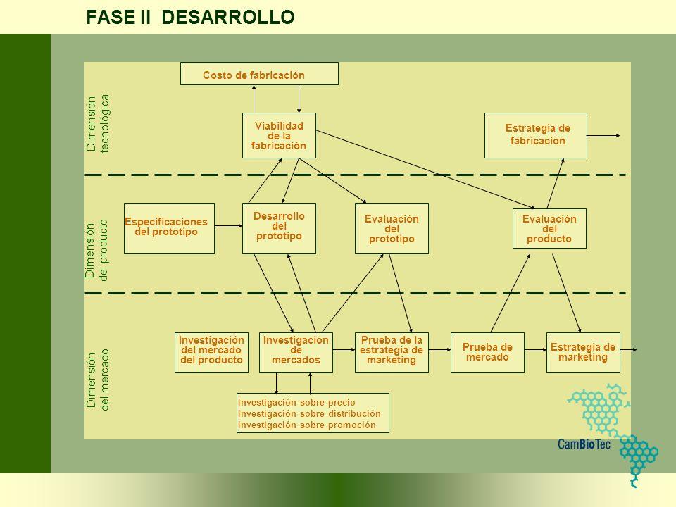 FASE II DESARROLLO Estrategia de marketing Investigación del mercado del producto Investigación de mercados Prueba de la estrategia de marketing Prueb