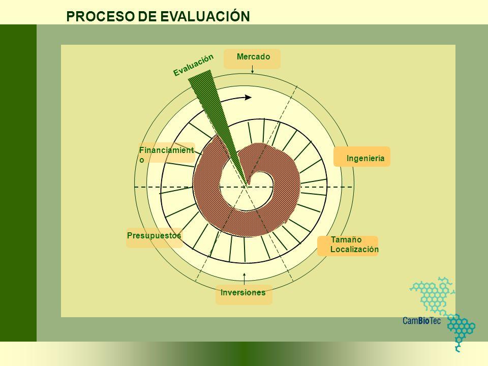 Mercado Ingeniería Financiamient o Presupuestos Inversiones Tamaño Localización PROCESO DE EVALUACIÓN Evaluación