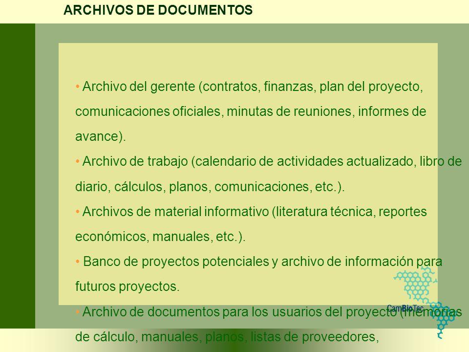 Archivo del gerente (contratos, finanzas, plan del proyecto, comunicaciones oficiales, minutas de reuniones, informes de avance). Archivo de trabajo (
