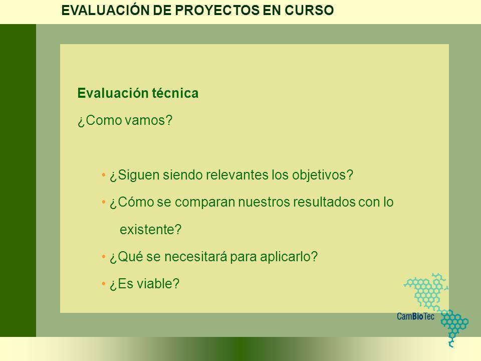 Evaluación técnica ¿Como vamos? ¿Siguen siendo relevantes los objetivos? ¿Cómo se comparan nuestros resultados con lo existente? ¿Qué se necesitará pa