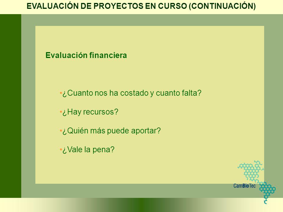 Evaluación financiera ¿Cuanto nos ha costado y cuanto falta? ¿Hay recursos? ¿Quién más puede aportar? ¿Vale la pena? EVALUACIÓN DE PROYECTOS EN CURSO