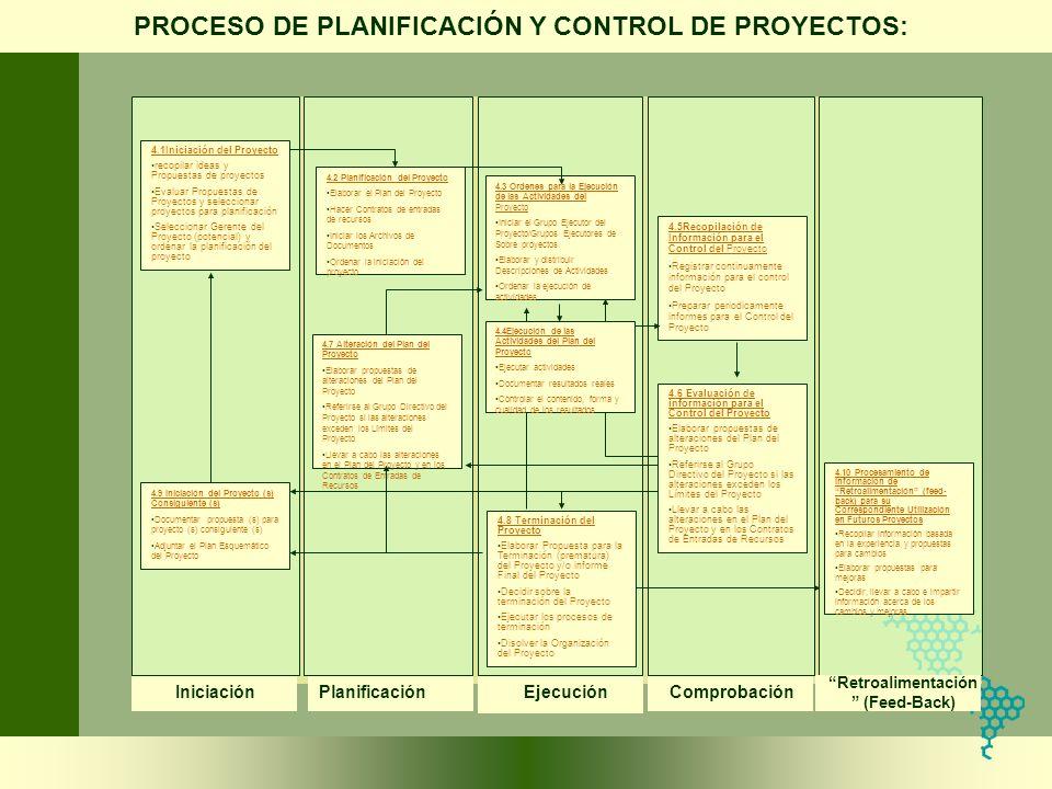 PROCESO DE PLANIFICACIÓN Y CONTROL DE PROYECTOS: 4.1Iniciación del Proyecto recopilar ideas y Propuestas de proyectos Evaluar Propuestas de Proyectos