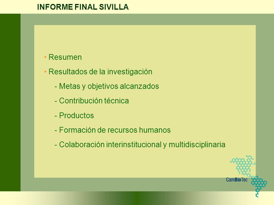 Resumen Resultados de la investigación - Metas y objetivos alcanzados - Contribución técnica - Productos - Formación de recursos humanos - Colaboració