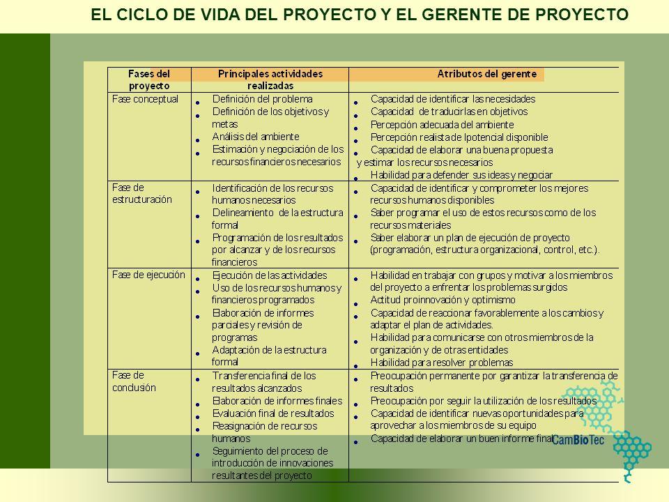 EL CICLO DE VIDA DEL PROYECTO Y EL GERENTE DE PROYECTO