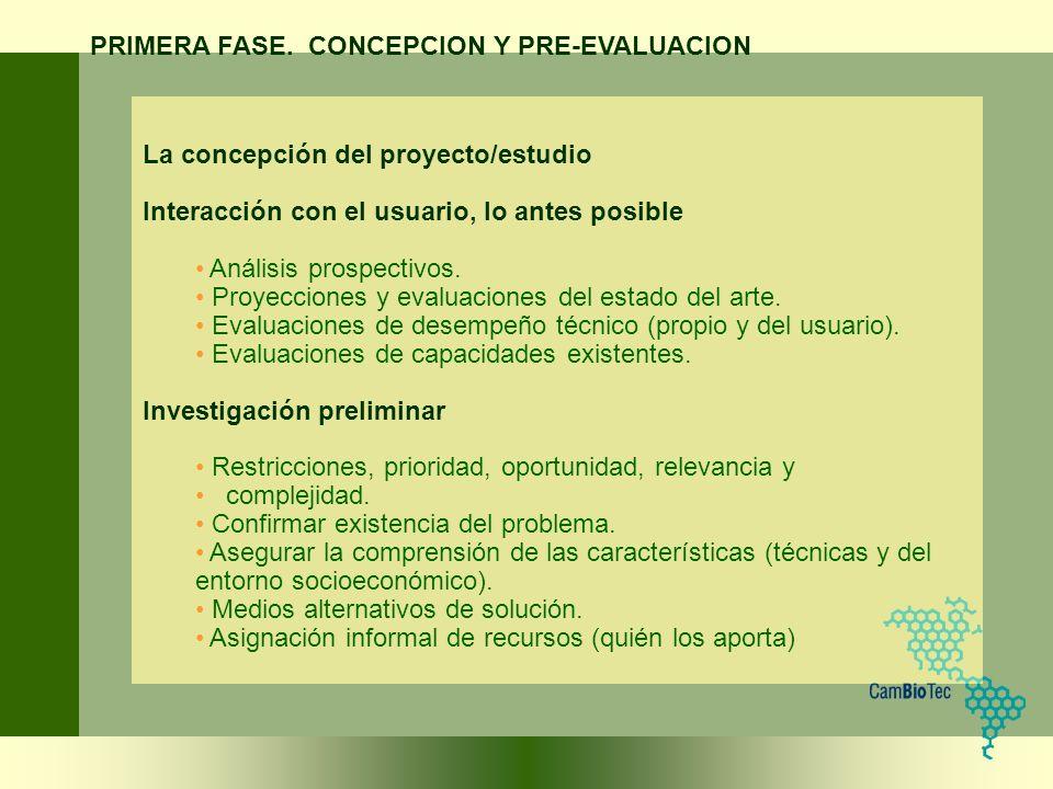 La concepción del proyecto/estudio Interacción con el usuario, lo antes posible Análisis prospectivos. Proyecciones y evaluaciones del estado del arte