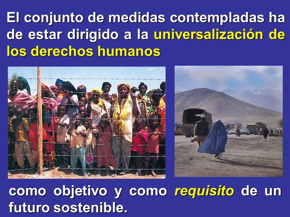 El conjunto de medidas contempladas ha de estar dirigido a la universalización de los derechos humanos como objetivo y como requisito de un futuro sostenible.