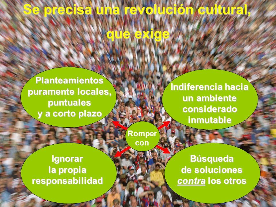 Se precisa una revolución cultural, que exige Planteamientos puramente locales, puntuales y a corto plazo Indiferencia hacia un ambiente considerado inmutable Ignorar la propia responsabilidad Búsqueda de soluciones contra los otros Romper con