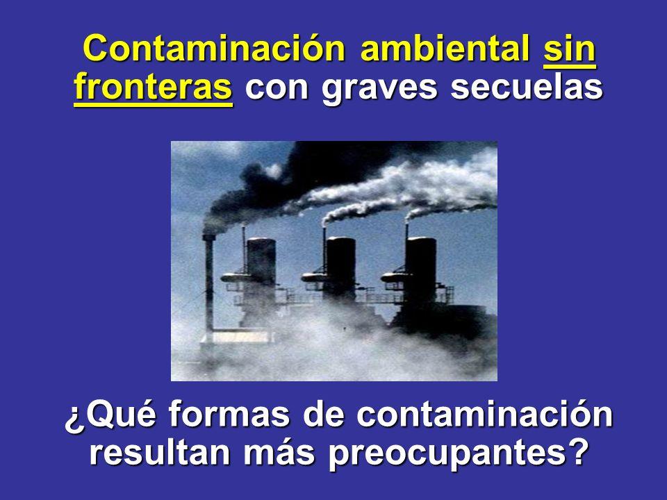 ¿Qué formas de contaminación resultan más preocupantes.
