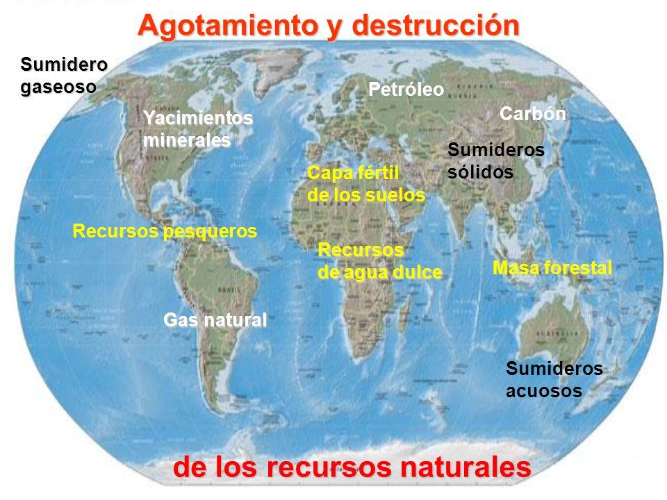 Yacimientosminerales Recursos de agua dulce Masa forestal Sumideros sólidos Capa fértil de los suelos Recursos pesqueros Sumideros acuosos Agotamiento y destrucción de los recursos naturales Petróleo Carbón Gas natural Sumiderogaseoso