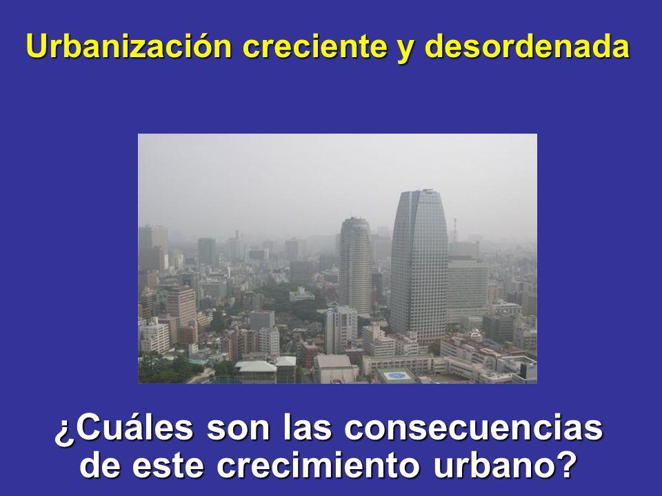 ¿Cuáles son las consecuencias de este crecimiento urbano Urbanización creciente y desordenada