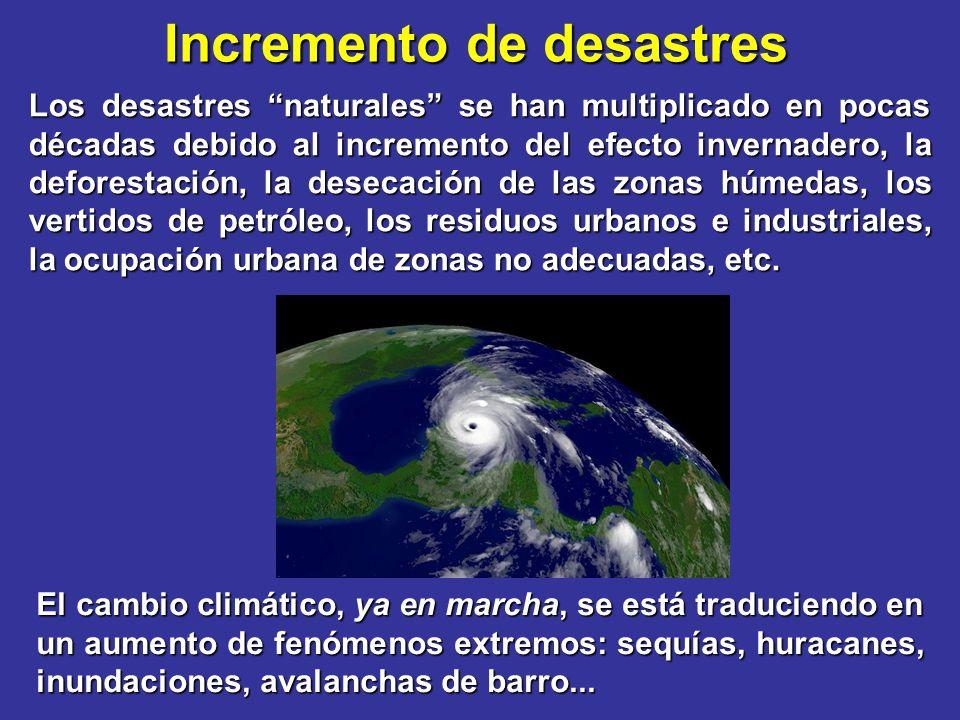 Incremento de desastres Los desastres naturales se han multiplicado en pocas décadas debido al incremento del efecto invernadero, la deforestación, la desecación de las zonas húmedas, los vertidos de petróleo, los residuos urbanos e industriales, la ocupación urbana de zonas no adecuadas, etc.
