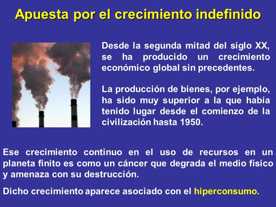 Apuesta por el crecimiento indefinido La producción de bienes, por ejemplo, ha sido muy superior a la que había tenido lugar desde el comienzo de la civilización hasta 1950.