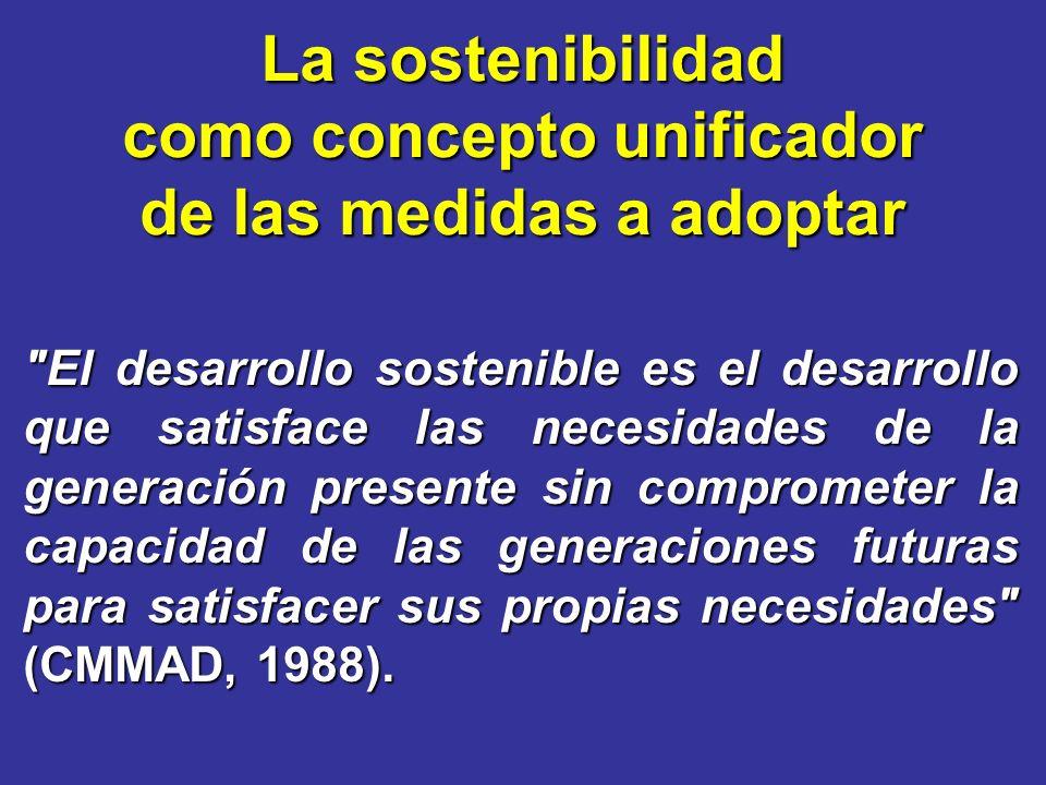 El desarrollo sostenible es el desarrollo que satisface las necesidades de la generación presente sin comprometer la capacidad de las generaciones futuras para satisfacer sus propias necesidades (CMMAD, 1988).