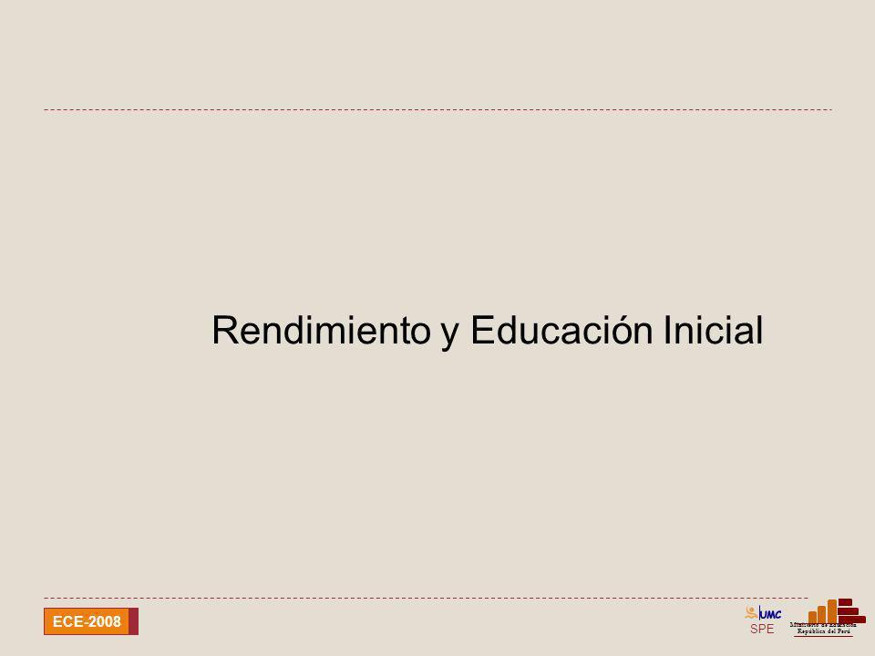 SPE Ministerio de Educación República del Perú ECE-2008 Rendimiento y Educación Inicial