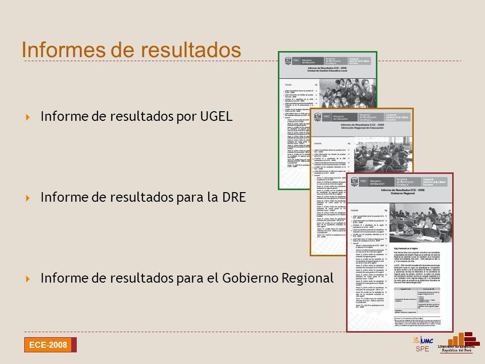 SPE Ministerio de Educación República del Perú ECE-2008 Informe de resultados por UGEL Informe de resultados para la DRE Informe de resultados para el