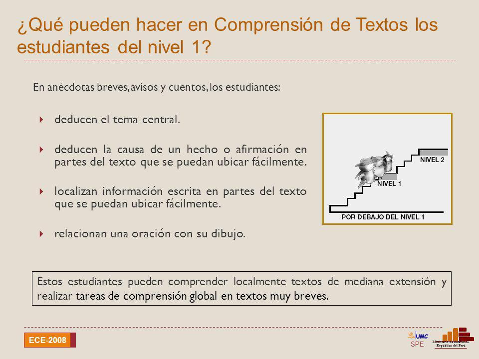 SPE Ministerio de Educación República del Perú ECE-2008 ¿Qué pueden hacer en Comprensión de Textos los estudiantes del nivel 1? Estos estudiantes pued