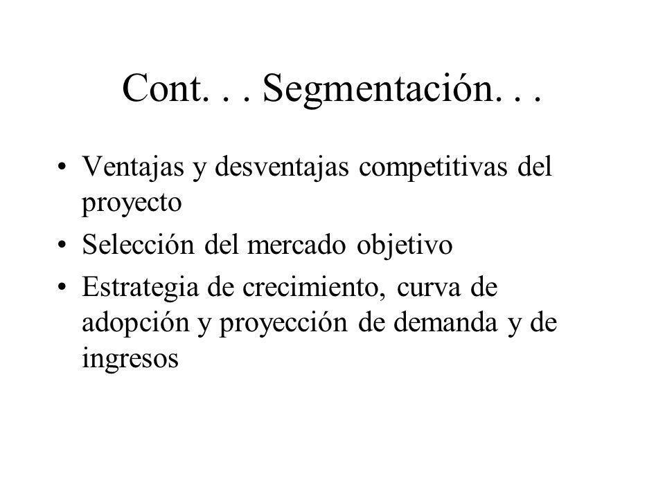 Cont... Segmentación... Ventajas y desventajas competitivas del proyecto Selección del mercado objetivo Estrategia de crecimiento, curva de adopción y