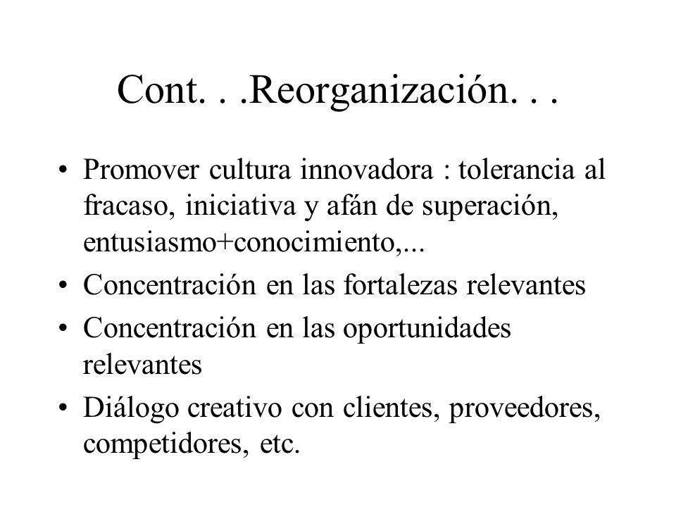 Cont...Reorganización... Promover cultura innovadora : tolerancia al fracaso, iniciativa y afán de superación, entusiasmo+conocimiento,... Concentraci