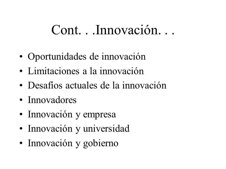 Cont...Innovación... Oportunidades de innovación Limitaciones a la innovación Desafíos actuales de la innovación Innovadores Innovación y empresa Inno