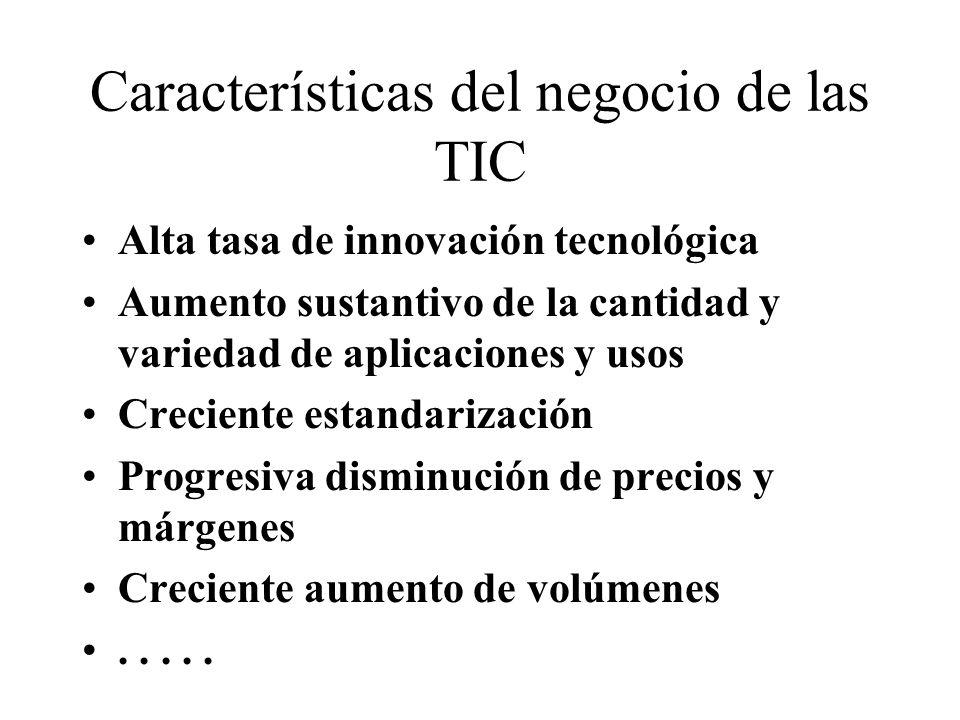 Características del negocio de las TIC Alta tasa de innovación tecnológica Aumento sustantivo de la cantidad y variedad de aplicaciones y usos Crecien