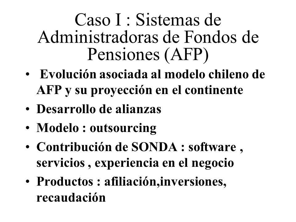 Caso I : Sistemas de Administradoras de Fondos de Pensiones (AFP) Evolución asociada al modelo chileno de AFP y su proyección en el continente Desarrollo de alianzas Modelo : outsourcing Contribución de SONDA : software, servicios, experiencia en el negocio Productos : afiliación,inversiones, recaudación