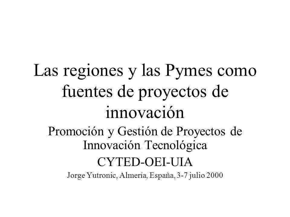 Las regiones y las Pymes como fuentes de proyectos de innovación Promoción y Gestión de Proyectos de Innovación Tecnológica CYTED-OEI-UIA Jorge Yutron