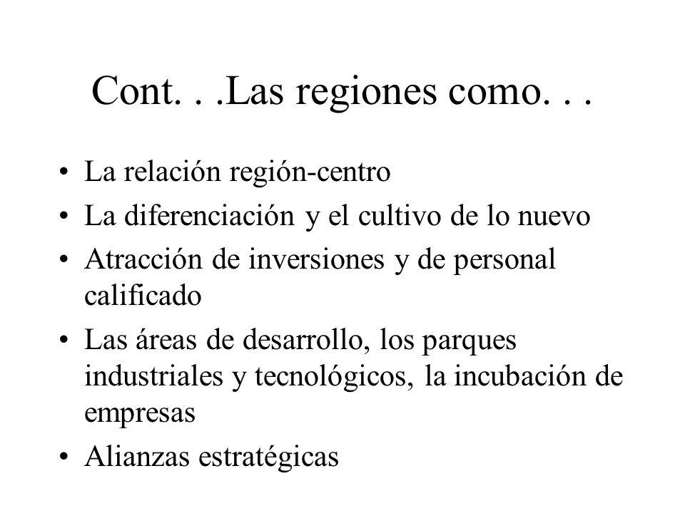 Cont...Las regiones como... La relación región-centro La diferenciación y el cultivo de lo nuevo Atracción de inversiones y de personal calificado Las