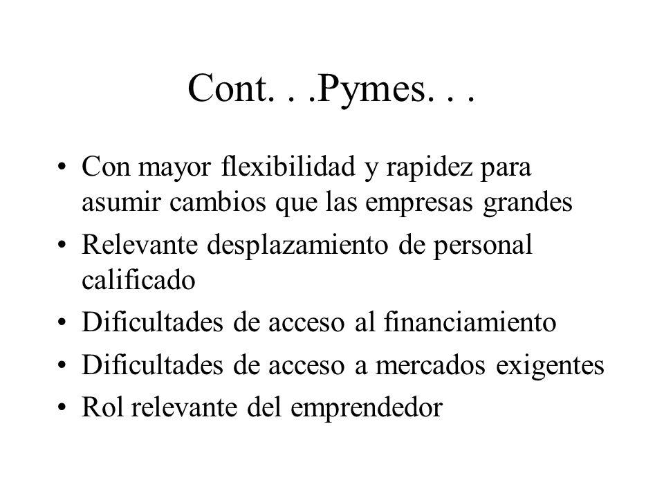 Pymes como fuentes de innovación La iniciativas emprendoras e innovadoras de las personas y sus efectos en las Pymes La mayor sensibilidad a los cambios del entorno (clientes, tecnología, mercados, etc.) La capacidad de asociarse con grandes empresas y otras Pymes Su capacidad de tratar nichos de mercados