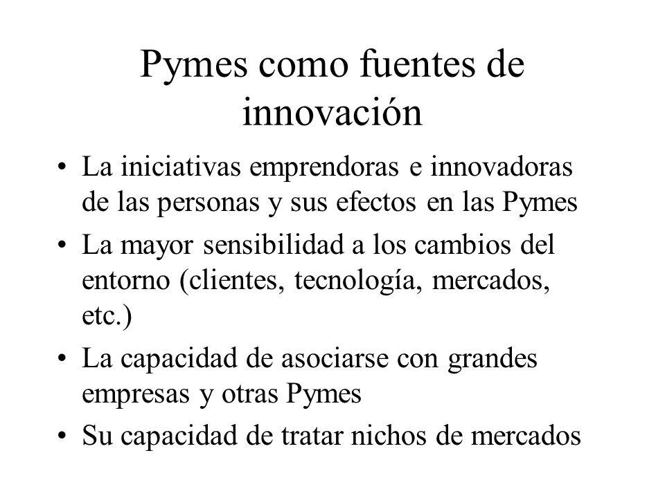 Pymes como fuentes de innovación La iniciativas emprendoras e innovadoras de las personas y sus efectos en las Pymes La mayor sensibilidad a los cambi