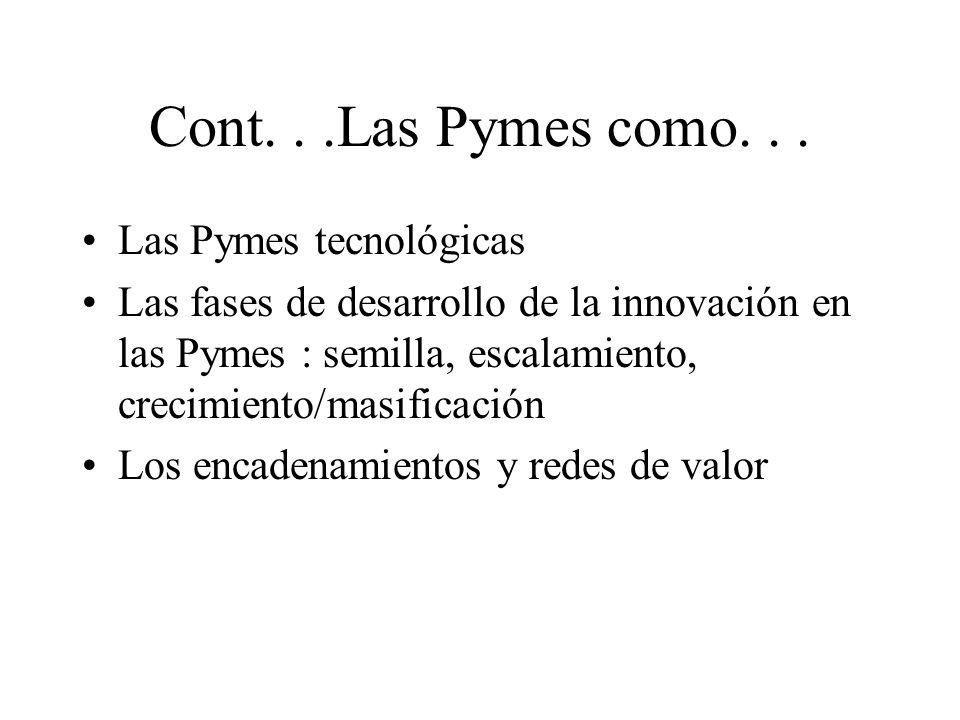Cont...Las Pymes como... Las Pymes tecnológicas Las fases de desarrollo de la innovación en las Pymes : semilla, escalamiento, crecimiento/masificació