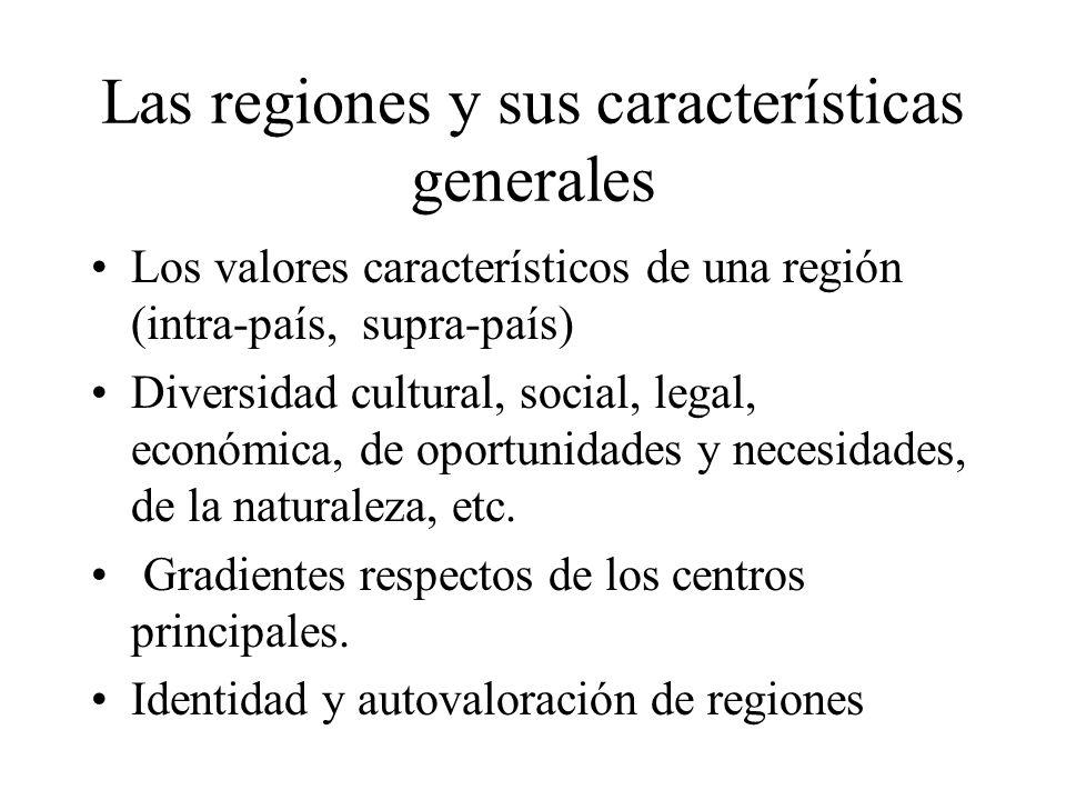 Las regiones y sus características generales Los valores característicos de una región (intra-país, supra-país) Diversidad cultural, social, legal, ec