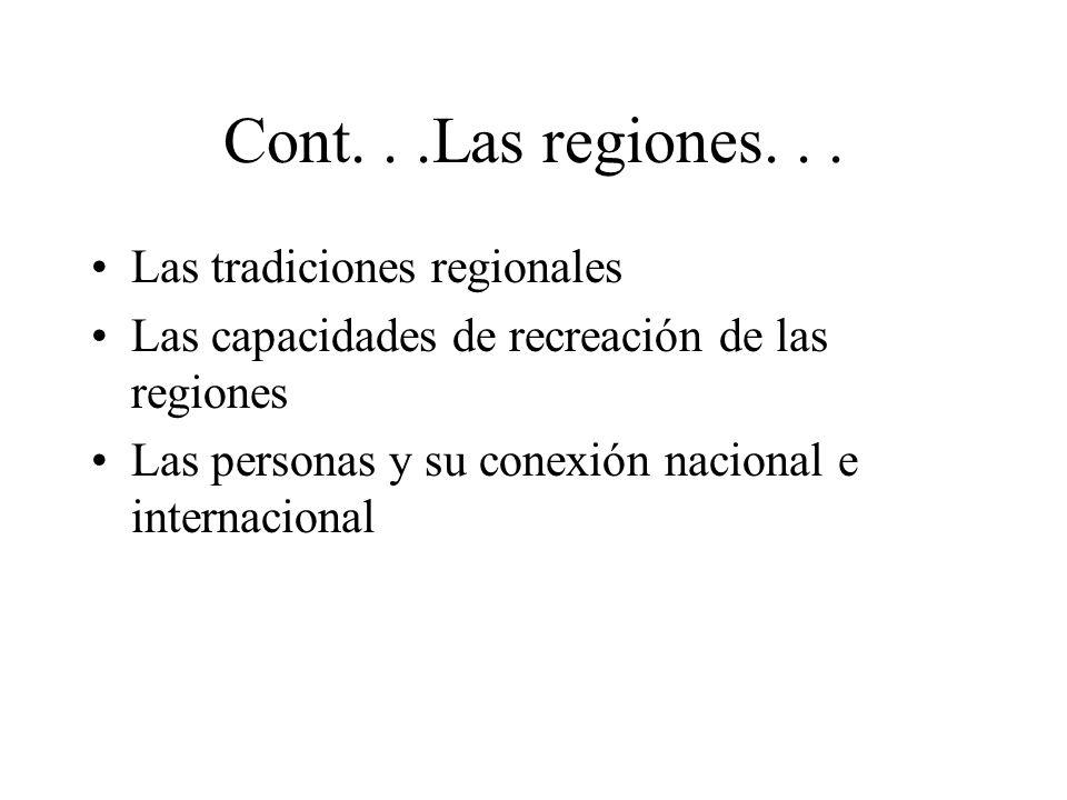 Cont...Las regiones... Las tradiciones regionales Las capacidades de recreación de las regiones Las personas y su conexión nacional e internacional